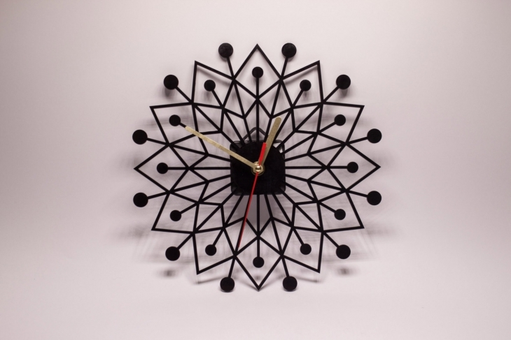 Black Floral Clock Design Idea