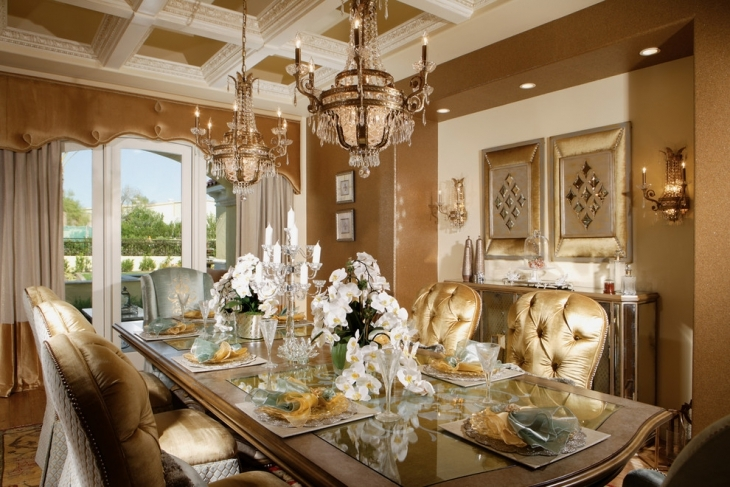 20 Luxury Dining Room Designs Decorating Ideas Design  : Chic Luxury Home Dining Room from designtrends.com size 730 x 487 jpeg 318kB