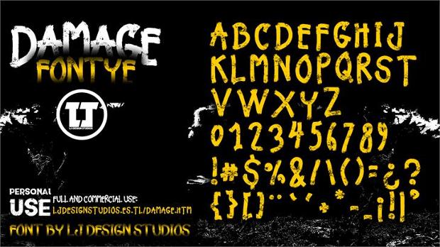 damage font style