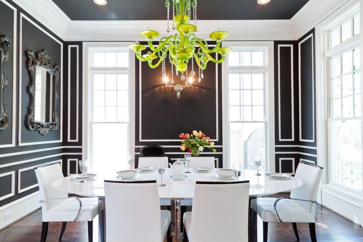 luxury dining room with green chandelier