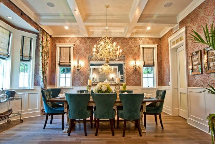 patterned walls dining room