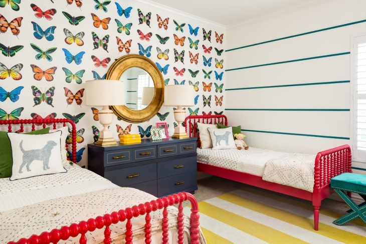 Kids Bedroom With Butterfly Wall