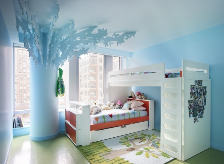 Blue Colored Kids Bedroom For Apartment