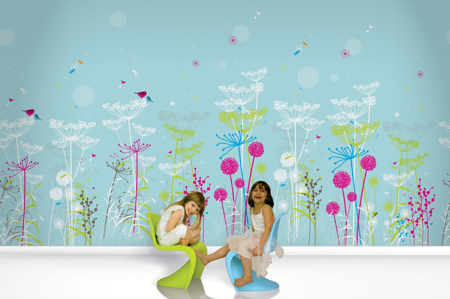 Kid Lost Garden Wallpaper Design