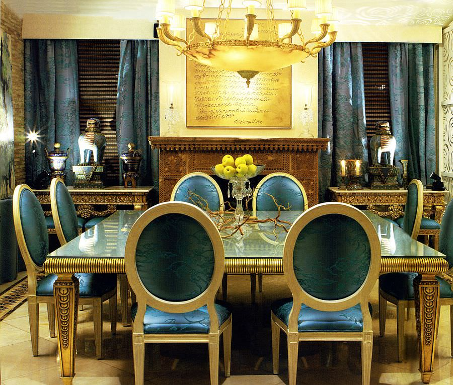 Blue And Gold Dazzling Dining Room Design