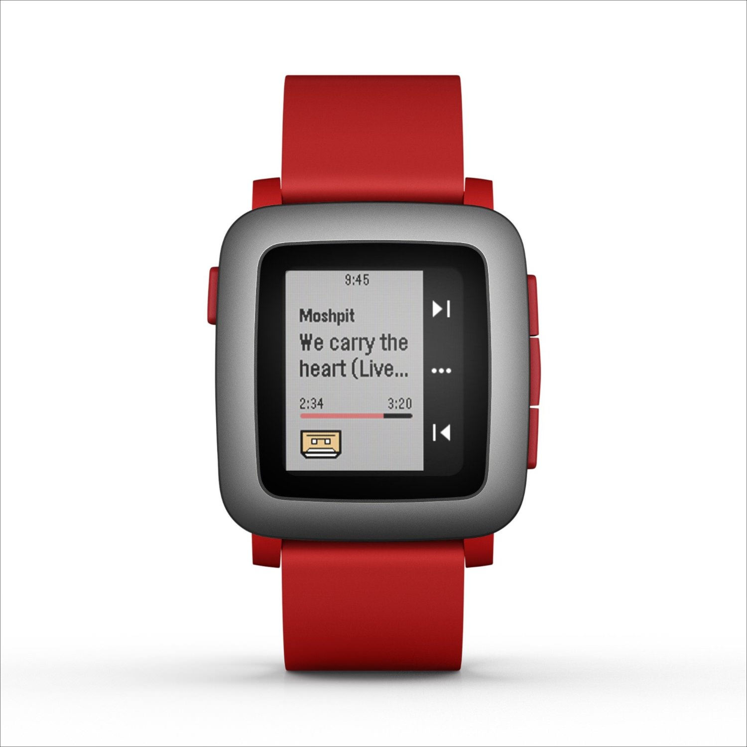 pebble red color smart watch