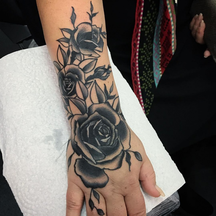 Black Rose Tattoo Design on Hand