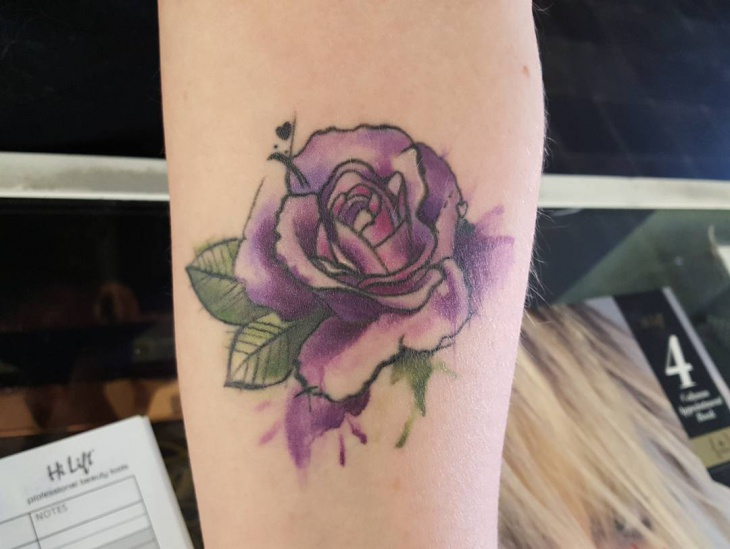Watercolor Rose Tattoo Design