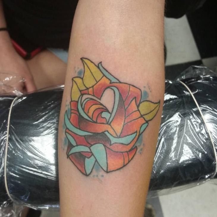 Creative Rose Tattoo Design