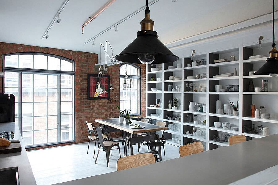 london chic industrial dining room design