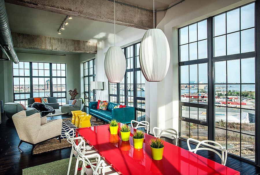 Bold Color Chic Industrial Dining Room Design