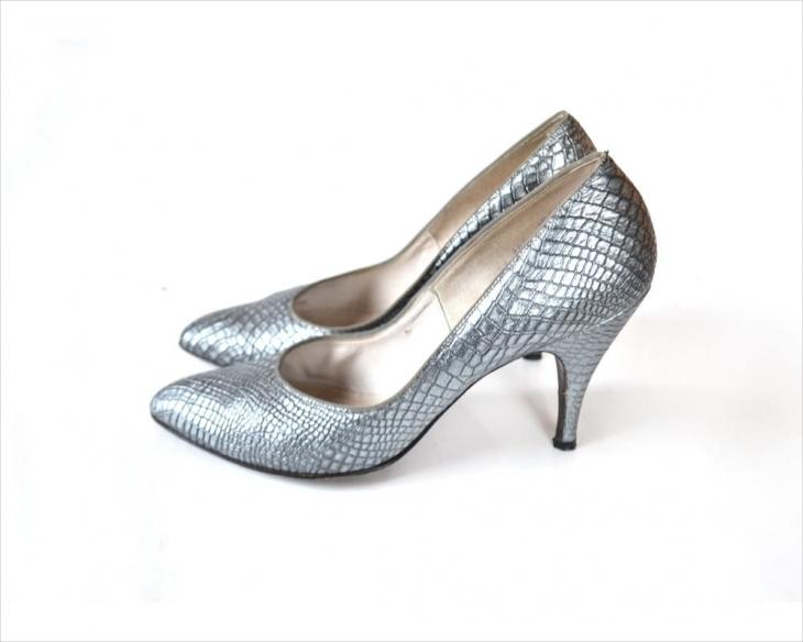 metal silver high heels