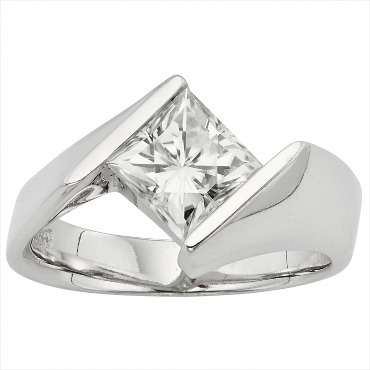 Flat Square Diamond Ring