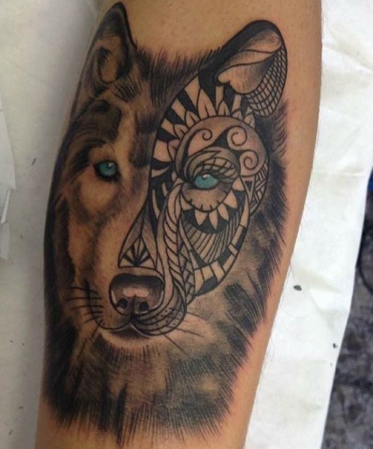 wolf tribal tattoo design with eyes
