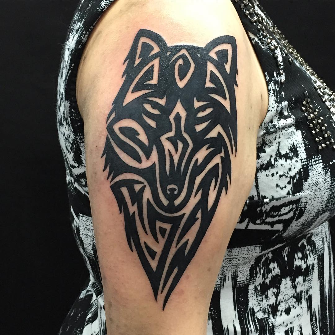 Wolf Tribal Tattoo Linework Design