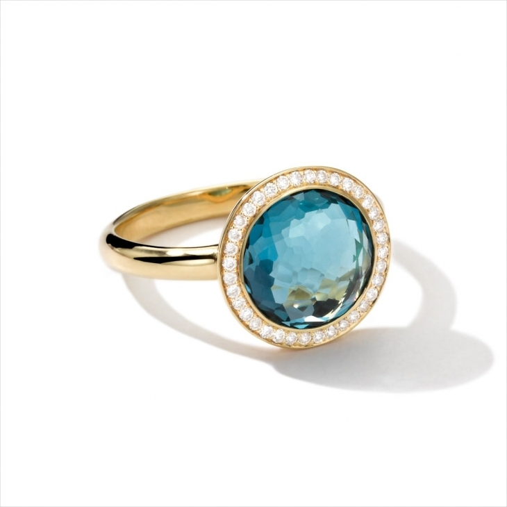 Blue Round Diamond Antique Ring