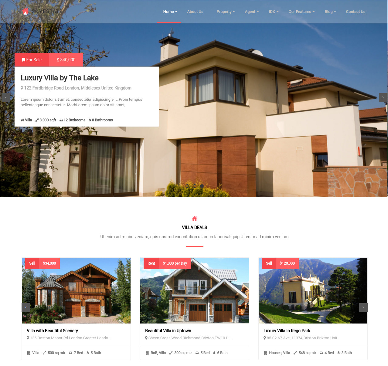 skyestate real estate wordpress theme