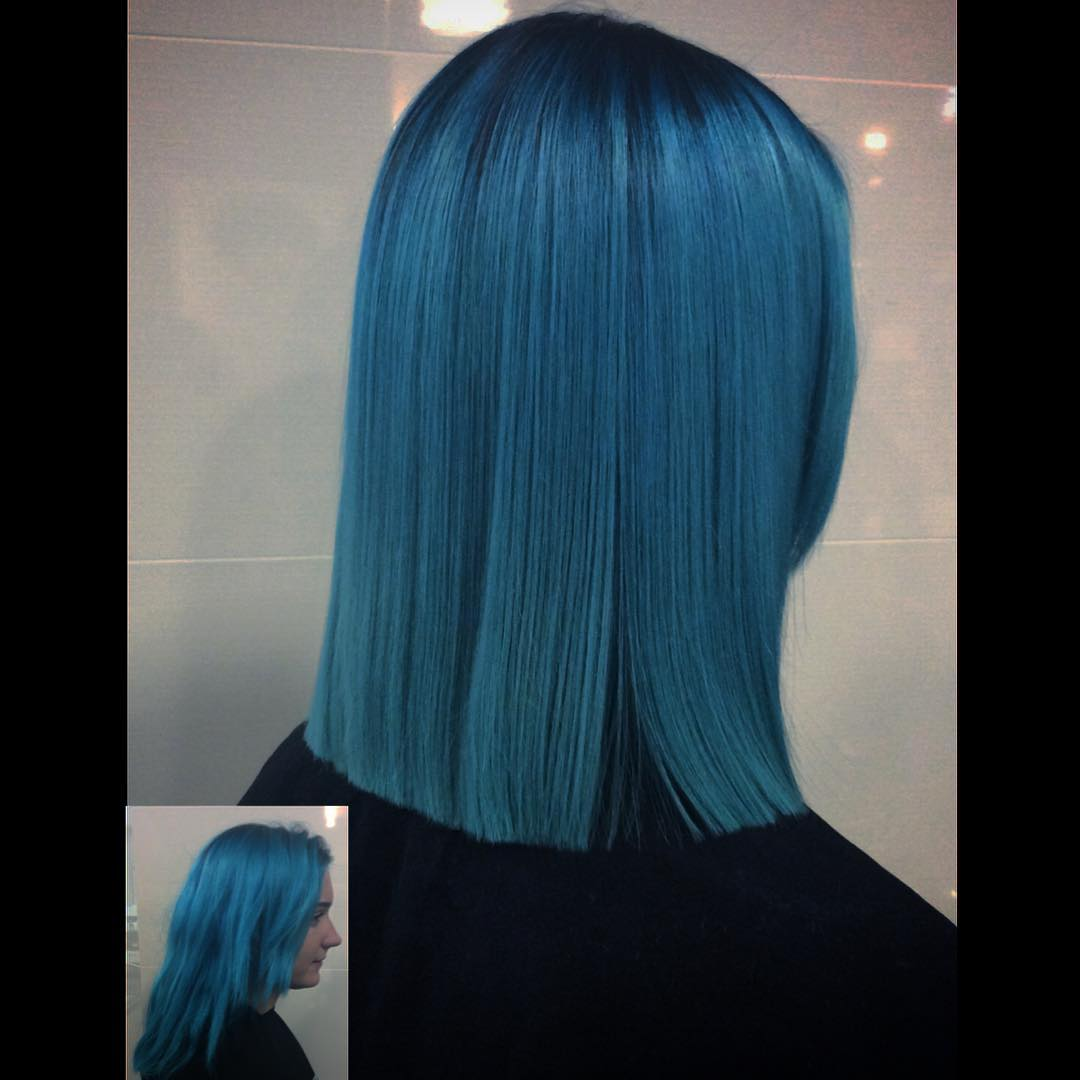 Blue Shade Blunt Haircut
