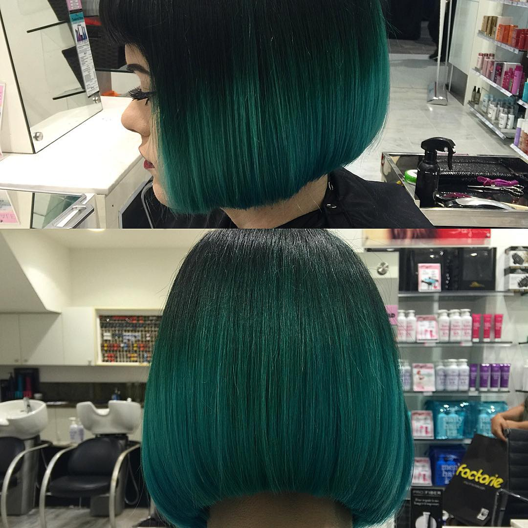 green shining blunt haircut