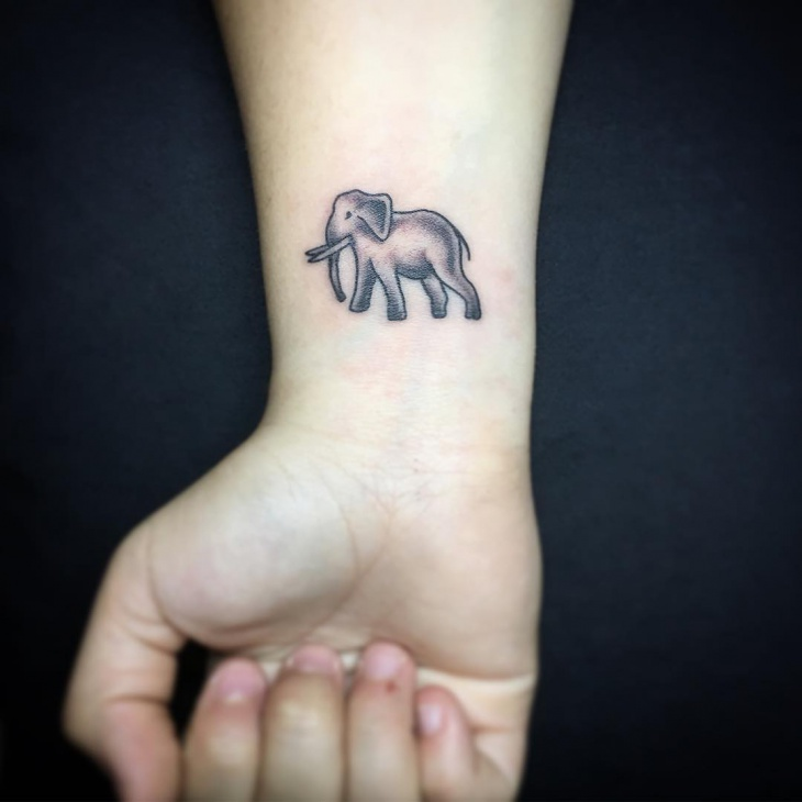 Small Elephant Wrist Tattoo
