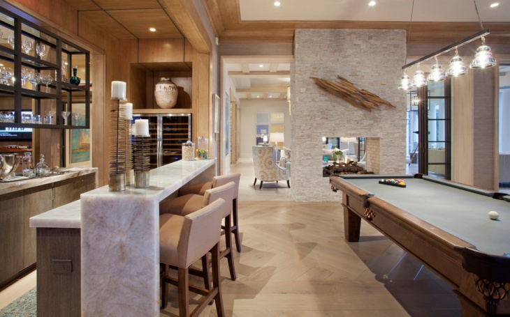 Transitional Home Bar Design