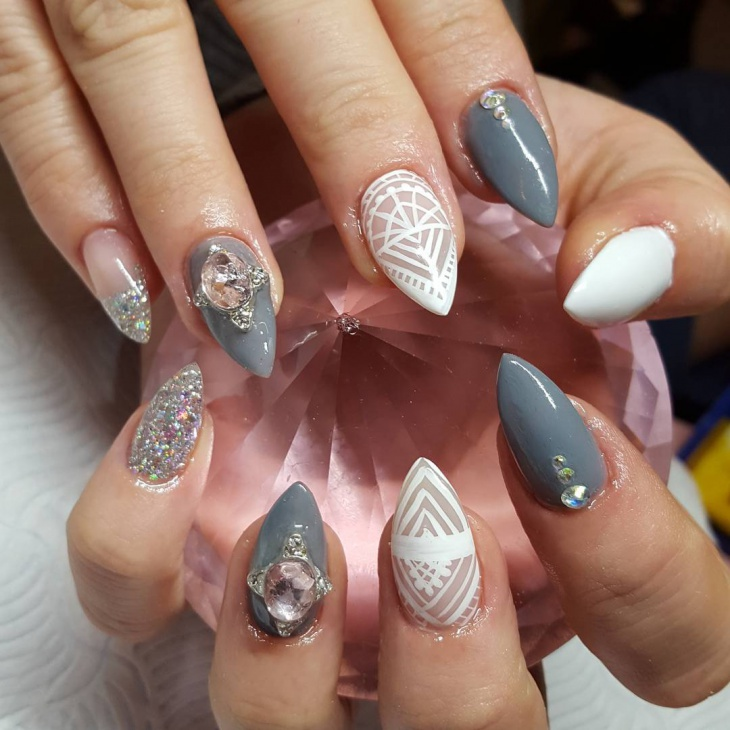 Bling Stiletto Nails Design