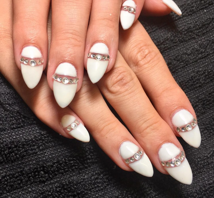 Hand Painted Bling Nails Design