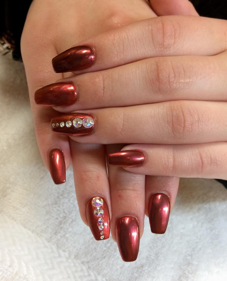Coffin Shape Bling Nails Design