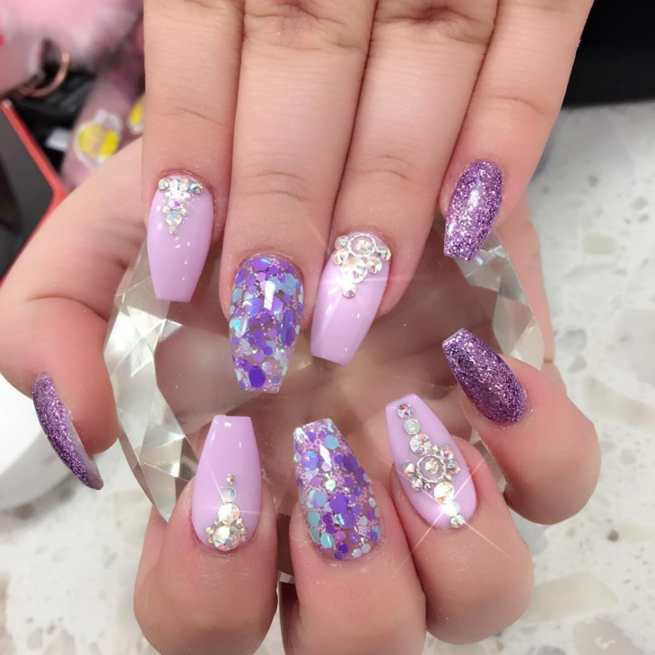 Bling Purple Nail Design Idea - 21+ Bling Nail Art Designs, Ideas Design Trends - Premium PSD