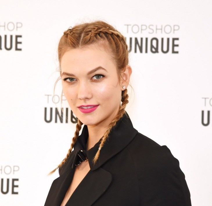 Karlie Kloss French Braid Pigtail Hairstyle