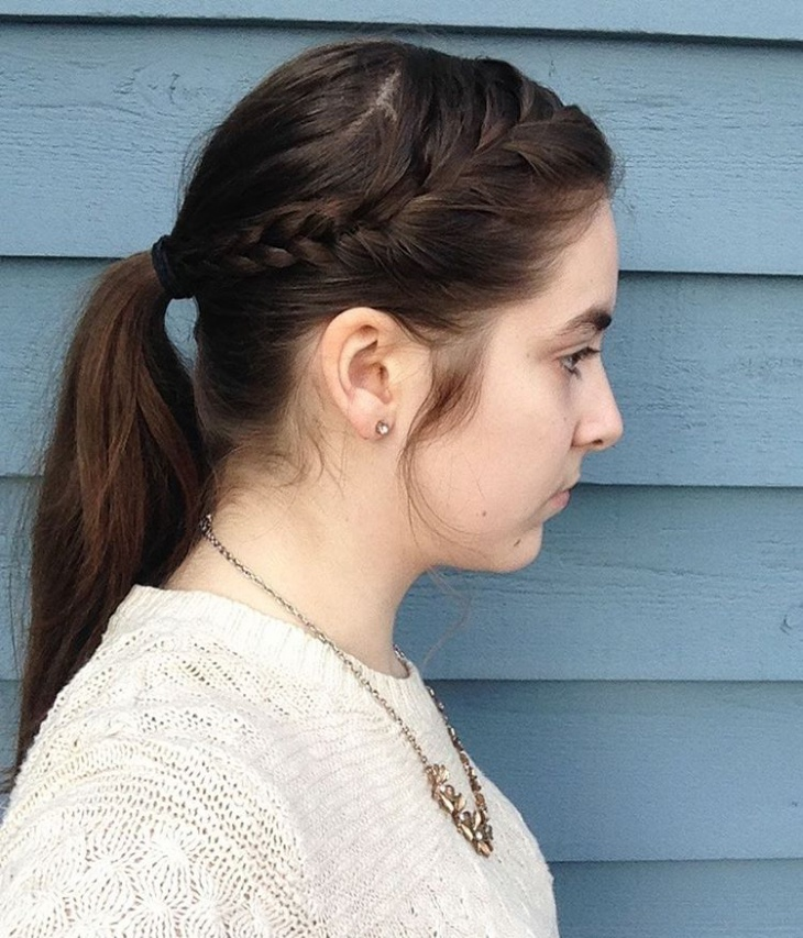 Side French Braid Ponytail Design