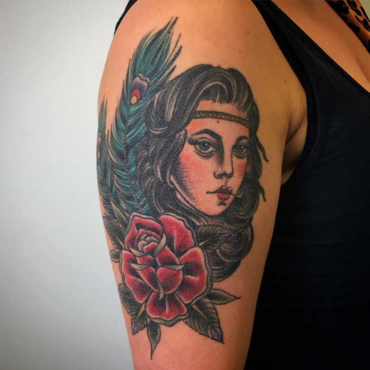 Girl Tattoo Design on Arm