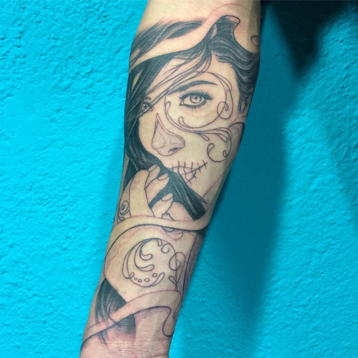 Girl Forearm Tattoo Design