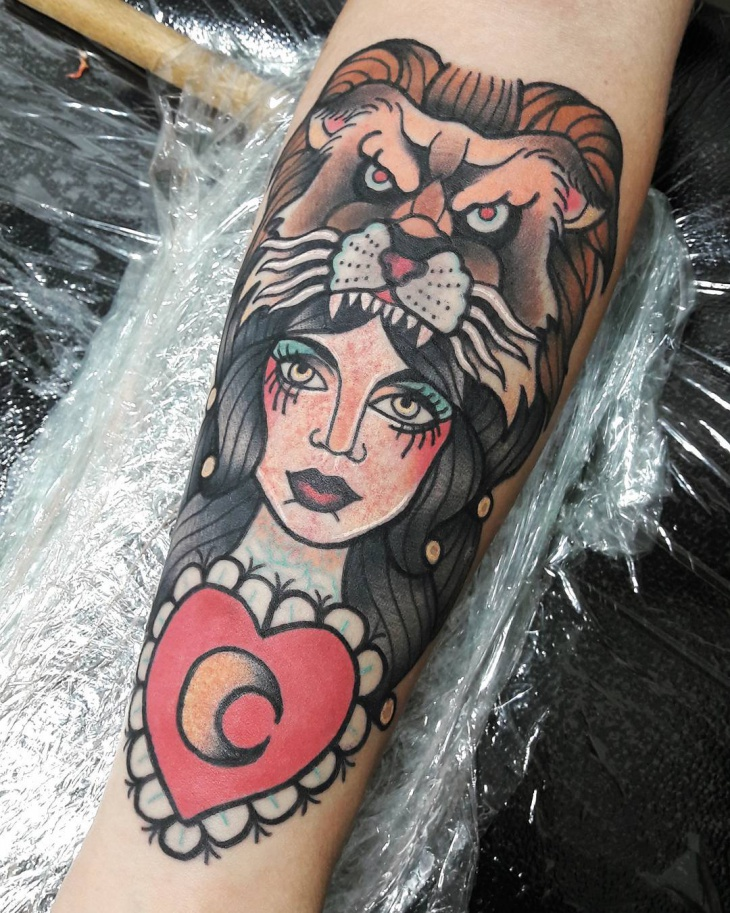 Girl and Lion Tattoo Design