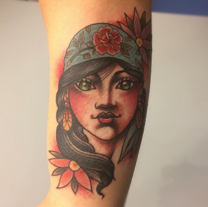 Neo Traditional Girl Tattoo Design