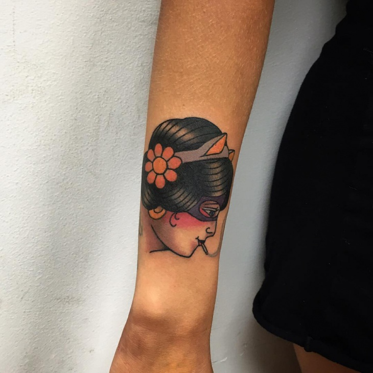 Girl Tattoo Design on Wrist