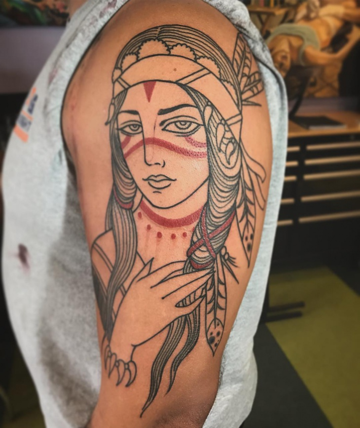 Half Sleeve Girl Tattoo Design