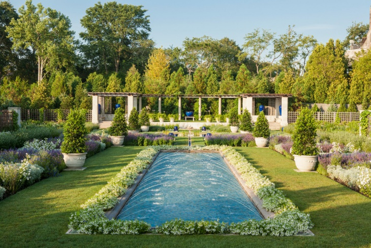 formal garden with pool design