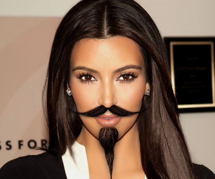 kim kardashian facial hair design for women