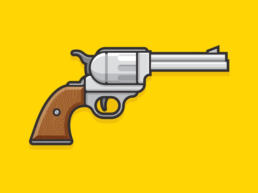 cartoon style gun logo