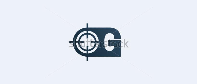 g gun shaped letter logo