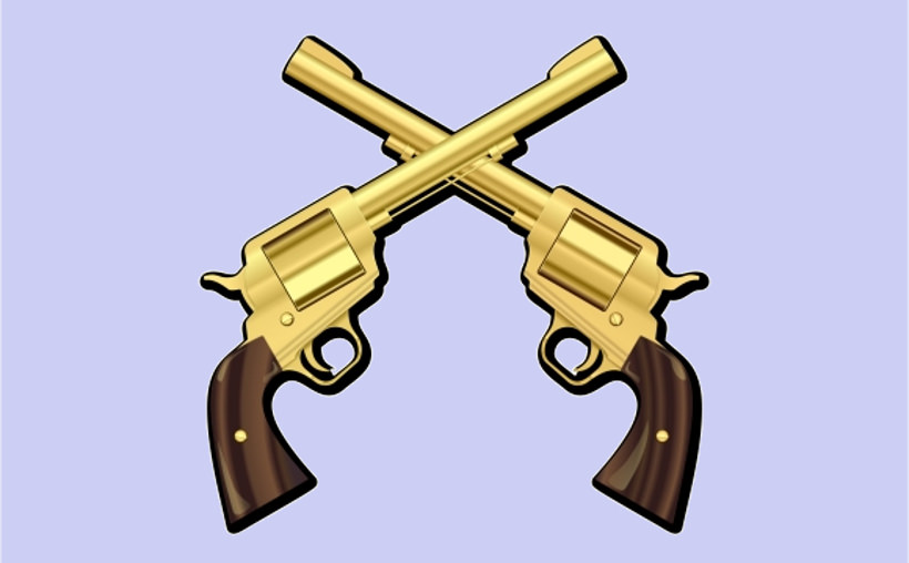 Gold Crossed Guns logo