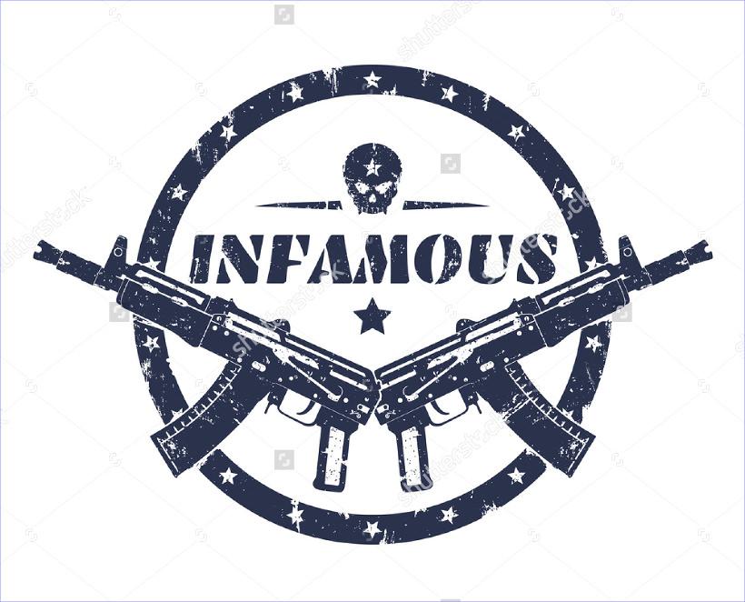 Gun round grunge print logo
