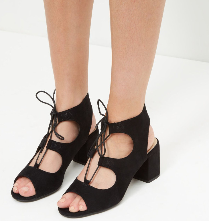 Black Lace Up Mid Heel Shoes