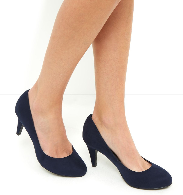 Navy Blue Mid Heel Shoes Design