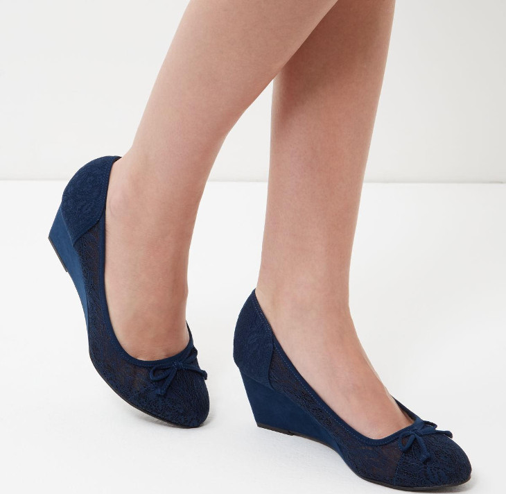 Navy Lace Mid Heel Wedges Idea