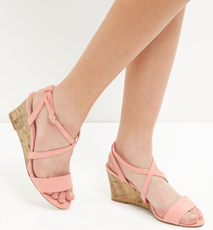 coral cross mid heel shoes design