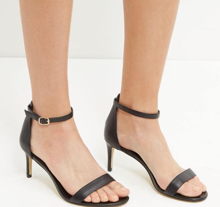 black leather mid heel shoes design
