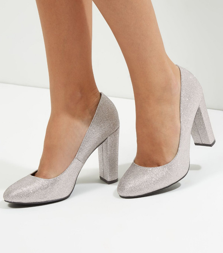 silver glitter mid heel shoes design1