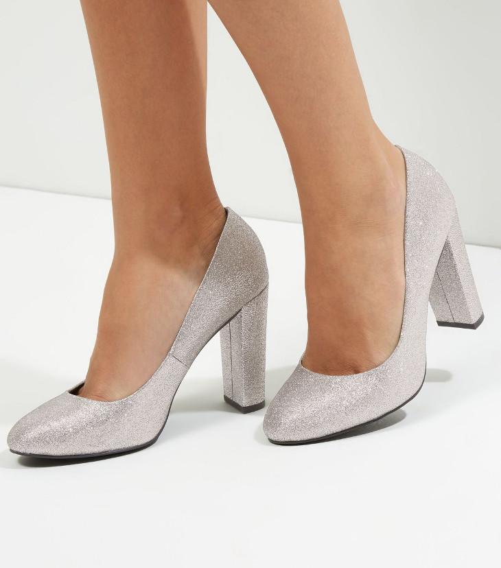 Silver Glitter Mid Heel Shoes Design